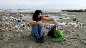 Young activist desperate about ecological disaster stock video footage