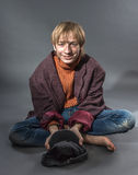 Young actor showing beggar Royalty Free Stock Image