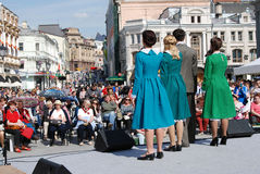 Young actors perform on the street Stock Photo