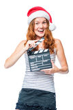 A young actress with a beater of cinema wears Stock Photography