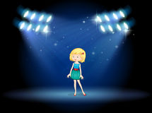 A young actress at the center of the stage. Illustration of a young actress at the center of the stage Royalty Free Stock Images