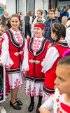 Young actresses in Bulgarian folk costumes at the Nestinar Games in the village of Bulgarians Stock Photos