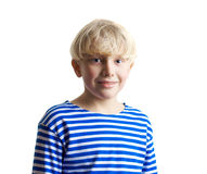 Young adorable fair-haired boy in the frock Stock Photo