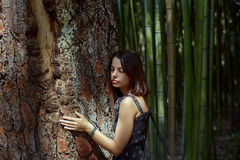 Young adorable woman closeup portrait near tree Stock Photography