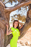 Young adorable woman  portrait near tree Royalty Free Stock Photography