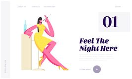 Young Adorable Woman Spending Time in Night Club Smoking Cigarette Using Mouthpiece and Drinking Alcoholic Drinks, Nightlife. Website Landing Page, Web Page royalty free illustration