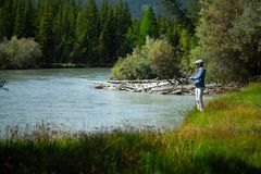 Young adult angler royalty free stock image