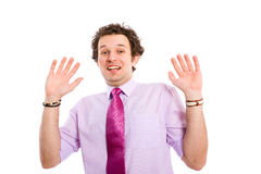 Young adult back up, withdraw from situation. Young adult model back up from situation, holds his hands up, all isolated on white background Stock Images