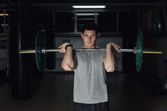 Young adult bodybuilder doing weight lifting in gym. Stock Photo