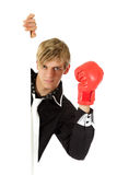 Young adult , boxing glove Royalty Free Stock Photography