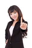 Young adult business woman showing one finger, number 1. Hand gesture Stock Photo