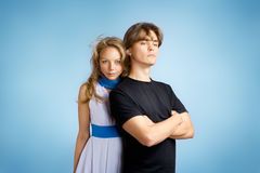 Young adult couple. Attractive young adult couple. Studio shot royalty free stock photos
