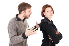 Young adult couple have an argument Royalty Free Stock Images