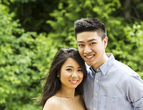 Young Adult Couple holding each outdoors Stock Image