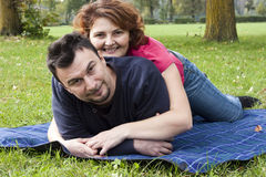 Young Adult Couple in the Park Stock Photo