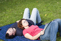 Young Adult Couple in the Park Royalty Free Stock Image