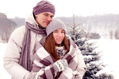 Young adult couple in park in winter. Beauty adult couple warming with blanket in park in winter stock photography