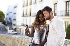 Young adult couple posing for a selfie, Ibiza, Spain Royalty Free Stock Photo