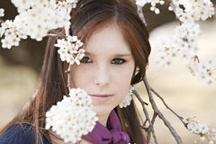 Young adult female looking through blossoms stock photography
