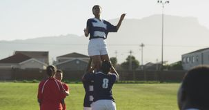 Young adult female rugby match