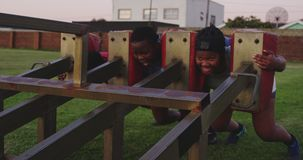 Young adult female rugby players training stock footage