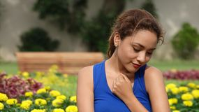 Beautiful Female With Broken Heart. A young adult hispanic female Royalty Free Stock Photography