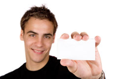 Young adult holding blank panel. Space for your text Royalty Free Stock Images