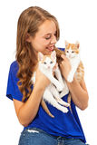 Young Adult Holding Two Kittens Royalty Free Stock Images