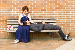 Young Adult Lover lying down with his mate Royalty Free Stock Image