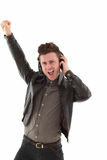 Young adult male dancing and Stock Photos