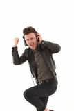 Young adult male dancing and Stock Photo