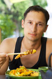 Young adult male  lunch Royalty Free Stock Photo