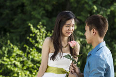 Young Adult Man offering Rose to his Girlfriend Stock Photos