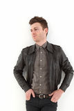 Young adult man posing with leather Stock Photo