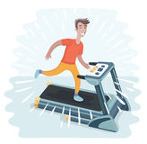 Young adult man running on treadmill, sport, fitness, athletics, healthy lifestyle. Royalty Free Stock Photography