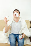 Young adult man suffering flu Stock Photos