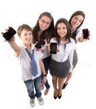 Young adult  with mobile phones. Isolated on white background Royalty Free Stock Photos