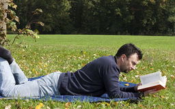 Young Adult Reading at the Park Royalty Free Stock Images