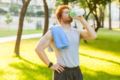Drink water. Young adult redhead and freckles man, drink water after cross and closed eyes. Outdoor stock photos