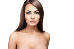 Young adult lady with healthy skin makeup and perfect strai stock photo