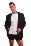 Young adult on thirties. Tanned and sensual man (young adult on thirties) isolated on white Stock Photography