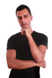 Young adult on thirties. Tanned and sensual man (young adult on thirties) isolated on white Royalty Free Stock Images