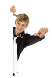 Young adult , thumb sideways Royalty Free Stock Photos