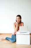 Young Adult Using Laptop Stock Image