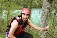 Young Adult Wearing Water sport and rafting equipment Royalty Free Stock Photos