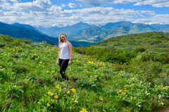 Young adult woman in alpine meadows. Arinca or balsamroot blooming in North Cascades National Park. Winthrop. Washington. The United States Stock Images