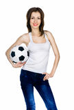 Young adult woman with ball Stock Photo