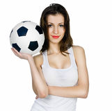 Young adult woman with ball Royalty Free Stock Photography