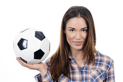 Young adult woman with ball Royalty Free Stock Photos