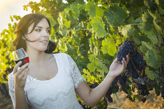 Young Adult Woman Enjoying A Glass of Wine in Vineyard Stock Photos